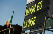 25 July 2018; A general view of the scoreboard prior to the All-Ireland Ladies Football U16 B Championship Final between Laois and Mayo at Duggan Park in Ballinasloe, Co. Galway. Photo by Diarmuid Greene/Sportsfile