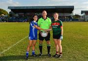 25 July 2018; Laois captain Julia Cahill and Mayo captain Tara Needham exchange a handshake in the company of referee Shane Curley prior to the All-Ireland Ladies Football U16 B Championship Final between Laois and Mayo at Duggan Park in Ballinasloe, Co. Galway. Photo by Diarmuid Greene/Sportsfile