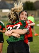 25 July 2018; Laura Gibbons, right, and Nicole Horan of Mayo celebrate after the All-Ireland Ladies Football U16 B Championship Final between Laois and Mayo at Duggan Park in Ballinasloe, Co. Galway. Photo by Diarmuid Greene/Sportsfile
