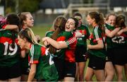 25 July 2018; Laura Gibbons, right, and Ellie Mahon of Mayo celebrate after the All-Ireland Ladies Football U16 B Championship Final between Laois and Mayo at Duggan Park in Ballinasloe, Co. Galway. Photo by Diarmuid Greene/Sportsfile