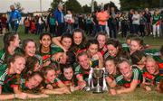 25 July 2018; Mayo captain Tara Needham and team-mates celebrate with the cup after the All-Ireland Ladies Football U16 B Championship Final between Laois and Mayo at Duggan Park in Ballinasloe, Co. Galway. Photo by Diarmuid Greene/Sportsfile