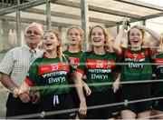 25 July 2018; Mayo players from second to left, Nicole Horan, Louise Dowling, Hannah Morrisroe, and Anna Lyons, along with bus driver Owen Cronin, left, look on from the substitutes bench during the final seconds of the All-Ireland Ladies Football U16 B Championship Final between Laois and Mayo at Duggan Park in Ballinasloe, Co. Galway. Photo by Diarmuid Greene/Sportsfile