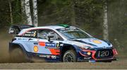 26 July 2018; Hayden Paddon of New Zealand and Sebastian Marshall of Great Britain in their Hyundai i20 Coupe WRC in action during a Shakedown prior to Round 8 of the FIA World Rally Championship in Jyväskylä, Finland. Photo by Philip Fitzpatrick/Sportsfile