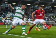 27 July 2018; Aaron Greene of Shamrock Rovers in action against Regan Donelon of Sligo Rovers during the SSE Airtricity League Premier Division match between Shamrock Rovers and Sligo Rovers at Tallaght Stadium in Tallaght, Co Dublin. Photo by Harry Murphy/Sportsfile