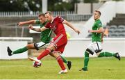 27 July 2018; Karl Sheppard of Cork City scores his side's third goal despite the efforts of Rhys Gorman of Bray Wanderers, as team-mate Conor Kenna looks on, during the SSE Airtricity League Premier Division match between Bray Wanderers and Cork City at the Carlisle Grounds in Bray, Co Wicklow. Photo by Piaras Ó Mídheach/Sportsfile