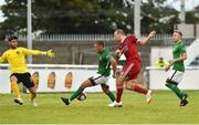 27 July 2018; Karl Sheppard of Cork City scores his side's third goal despite the efforts of Evan Moran, left, and Rhys Gorman of Bray Wanderers, as team-mate Conor Kenna looks on, during the SSE Airtricity League Premier Division match between Bray Wanderers and Cork City at the Carlisle Grounds in Bray, Co Wicklow. Photo by Piaras Ó Mídheach/Sportsfile