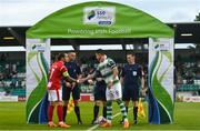 27 July 2018; Rhys McCabe of Sligo Rovers and Ronan Finn of Shamrock Rovers shake hands prior to the SSE Airtricity League Premier Division match between Shamrock Rovers and Sligo Rovers at Tallaght Stadium in Tallaght, Co Dublin. Photo by Harry Murphy/Sportsfile