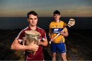 10 July 2018; Johnny Coen of Galway and David Fitzgerald of Clare during the GAA Hurling and Football All Ireland Senior Championship Series National Launch at Dun Aengus in the Aran Islands, Co Galway. Photo by Diarmuid Greene/Sportsfile