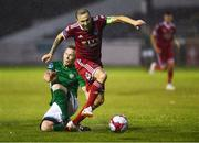 27 July 2018; Karl Sheppard of Cork City in action against Conor Kenna of Bray Wanderers during the SSE Airtricity League Premier Division match between Bray Wanderers and Cork City at the Carlisle Grounds in Bray, Co Wicklow. Photo by Piaras Ó Mídheach/Sportsfile