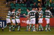 27 July 2018; Shamrock Rovers players celebrate after Dylan Watts scored his side's first goal during the SSE Airtricity League Premier Division match between Shamrock Rovers and Sligo Rovers at Tallaght Stadium in Tallaght, Co Dublin. Photo by Harry Murphy/Sportsfile