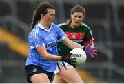 28 July 2018; Leah Caffrey of Dublin in action against Grace Kelly of Mayo during the TG4 All-Ireland Ladies Football Senior Championship qualifier Group 1 Round 3 match between Dublin and Mayo at Dr Hyde Park in Roscommon. Photo by Brendan Moran/Sportsfile