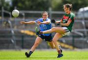 28 July 2018; Grace Kelly of Mayo in action against Sinéad Goldrick of Dublin during the TG4 All-Ireland Ladies Football Senior Championship qualifier Group 1 Round 3 match between Dublin and Mayo at Dr Hyde Park in Roscommon. Photo by Brendan Moran/Sportsfile