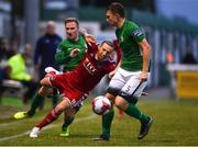 27 July 2018; Karl Sheppard of Cork City in action against Paul O'Conor, left, and Sean Heaney of Bray Wanderers during the SSE Airtricity League Premier Division match between Bray Wanderers and Cork City at the Carlisle Grounds in Bray, Co Wicklow. Photo by Piaras Ó Mídheach/Sportsfile