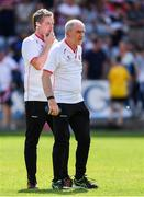 7 July 2018; Tyrone manager Mickey Harte, right, with assistant manager Gavin Devlin during the GAA Football All-Ireland Senior Championship Round 4 between Cork and Tyrone at O'Moore Park in Portlaoise, Co. Laois. Photo by Brendan Moran/Sportsfile