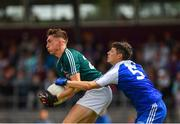 28 July 2018; Aaron Kennedy of Kildare in action against Christopher Flood of Monaghan during the Electric Ireland GAA Football All-Ireland Minor Championship Quarter-Final match between Monaghan and Kildare at TEG Cusack Park in Mullingar, Westmeath. Photo by Piaras Ó Mídheach/Sportsfile