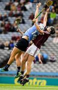 28 July 2018; Luke Swan of Dublin in action against Shane Jennings of Galway during the Electric Ireland GAA Hurling All-Ireland Minor Championship Semi-Final match between Dublin and Galway at Croke Park in Dublin. Photo by Ray McManus/Sportsfile