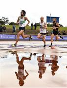 28 July 2018; Athletes, from left, Michael Clohisey of Raheny Shamrock A.C., Co. Dublin, Kevin Maunsell of Clonmel A.C., Co. Tipperary, and Stephen Scullion of Clonliffe Harriers A.C., Co. Dublin, competing in the Senior Men 10000m event during the Irish Life Health National Senior T&F Championships Day 1 at Morton Stadium in Santry, Dublin. Photo by Sam Barnes/Sportsfile