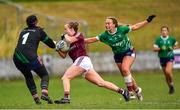 28 July 2018; Sarah Conneally of Galway in action against Karen Walsh and Jennifer Rogers of Westmeath during the TG4 All-Ireland Ladies Football Senior Championship qualifier Group 3 Round 3 match between Westmeath and Galway at Duggan Park in Ballinasloe, Galway. Photo by Harry Murphy/Sportsfile