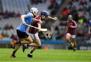 28 July 2018; Niall Collins of Galway in action against Finn Murphy of Dublin during the Electric Ireland GAA Hurling All-Ireland Minor Championship Semi-Final match between Dublin and Galway at Croke Park in Dublin. Photo by Ray McManus/Sportsfile