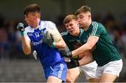 28 July 2018; Loughlinn Power of Monaghan in action against Jack Cleary, centre, and Conor McGroarty of Kildare during the Electric Ireland GAA Football All-Ireland Minor Championship Quarter-Final match between Monaghan and Kildare at TEG Cusack Park in Mullingar, Westmeath. Photo by Piaras Ó Mídheach/Sportsfile
