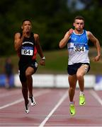 28 July 2018; Leon Reid of Menapians A.C., Co. Wexford, left, on his way to winning the Senior Men 200m event, ahead of Marcus Lawler of St. Laurence O'Toole A.C., Co. Carlow, who finished second, during the Irish Life Health National Senior T&F Championships Day 1 at Morton Stadium in Santry, Dublin. Photo by Sam Barnes/Sportsfile