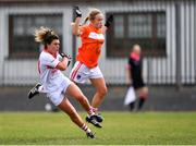 28 July 2018; Doireann O'Sullivan of Cork in action against Marian McGuinness of Armagh during the TG4 All-Ireland Ladies Football Senior Championship qualifier Group 2 Round 3 match between Armagh and Cork at Duggan Park in Ballinasloe, Galway. Photo by Harry Murphy/Sportsfile