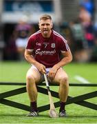 28 July 2018; Aidan Harte of Galway takes his seat for the team photo prior to the GAA Hurling All-Ireland Senior Championship semi-final match between Galway and Clare at Croke Park in Dublin. Photo by David Fitzgerald/Sportsfile