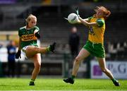 28 July 2018; Deirdre Foley of Donegal blocks down a shot by Andrea Murphy of Kerry during the TG4 All-Ireland Ladies Football Senior Championship qualifier Group 1 Round 3 match between Kerry and Donegal at Dr Hyde Park in Roscommon. Photo by Brendan Moran/Sportsfile