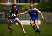 28 July 2018; Seán Englishby of Kildare in action against Karl Gallagher of Monaghan during the Electric Ireland GAA Football All-Ireland Minor Championship Quarter-Final match between Monaghan and Kildare at TEG Cusack Park in Mullingar, Westmeath. Photo by Piaras Ó Mídheach/Sportsfile
