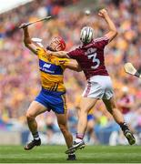 28 July 2018; John Conlon of Clare in action against Daithi Burke of Galway during the GAA Hurling All-Ireland Senior Championship semi-final match between Galway and Clare at Croke Park in Dublin. Photo by David Fitzgerald/Sportsfile