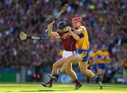28 July 2018; Aidan Harte of Galway is tackled by Jack Browne of Clare during the GAA Hurling All-Ireland Senior Championship semi-final match between Galway and Clare at Croke Park in Dublin. Photo by Ray McManus/Sportsfile