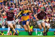 28 July 2018; Peter Duggan of Clare in action against Paul Killeen, left, and Cathal Mannion of Galway during the GAA Hurling All-Ireland Senior Championship semi-final match between Galway and Clare at Croke Park in Dublin. Photo by Ray McManus/Sportsfile