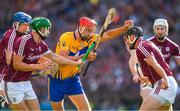 28 July 2018; Peter Duggan of Clare is tackled by Aidan Harte and Adrian Tuohy of Galway during the GAA Hurling All-Ireland Senior Championship semi-final match between Galway and Clare at Croke Park in Dublin. Photo by Ray McManus/Sportsfile