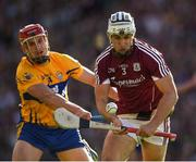28 July 2018; Daithi Burke of Galway is hooked by John Conlon of Clare during the GAA Hurling All-Ireland Senior Championship semi-final match between Galway and Clare at Croke Park in Dublin. Photo by Ray McManus/Sportsfile