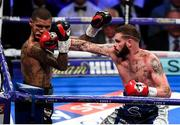 28 July 2018; Cedric Peynaud, right, and Conor Benn during their WBA Continental Welterweight Championship bout at The O2 Arena in London, England. Photo by Stephen McCarthy/Sportsfile