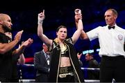 28 July 2018; Katie Taylor celebrates following her WBA & IBF World Lightweight Championship bout with Kimberly Connor at The O2 Arena in London, England. Photo by Stephen McCarthy/Sportsfile