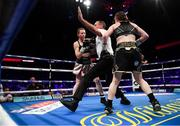 28 July 2018; Referee Steve Gray steps between Katie Taylor, right and Kimberly Connor during their WBA & IBF World Lightweight Championship bout at The O2 Arena in London, England. Photo by Stephen McCarthy/Sportsfile