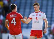 7 July 2018; Cathal McShane of Tyrone with Kevin Crowley of Cork after the GAA Football All-Ireland Senior Championship Round 4 between Cork and Tyrone at O'Moore Park in Portlaoise, Co. Laois. Photo by Brendan Moran/Sportsfile