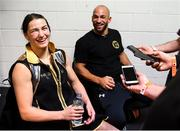 28 July 2018; Katie Taylor, in the company of her trainer Ross Enamait, speaks to media following her WBA & IBF World Lightweight Championship bout with Kimberly Connor at The O2 Arena in London, England. Photo by Stephen McCarthy/Sportsfile