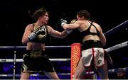 28 July 2018; Katie Taylor, left, and Kimberly Connor during their WBA & IBF World Lightweight Championship bout at The O2 Arena in London, England. Photo by Stephen McCarthy/Sportsfile