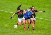 28 July 2018; Noelle Healy of Dublin in action against Rachel Kearns, left, and Danielle Caldwell of Mayo during the TG4 All-Ireland Ladies Football Senior Championship qualifier Group 1 Round 3 match between Dublin and Mayo at Dr Hyde Park in Roscommon. Photo by Brendan Moran/Sportsfile