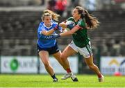 28 July 2018; Niamh Kelly of Mayo in action against Jennifer Dunne of Dublin during the TG4 All-Ireland Ladies Football Senior Championship qualifier Group 1 Round 3 match between Dublin and Mayo at Dr Hyde Park in Roscommon. Photo by Brendan Moran/Sportsfile
