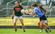 28 July 2018; Noelle Healy of Dublin in action against Rebecca O'Malley and Roisín Flynn of Mayo during the TG4 All-Ireland Ladies Football Senior Championship qualifier Group 1 Round 3 match between Dublin and Mayo at Dr Hyde Park in Roscommon. Photo by Brendan Moran/Sportsfile