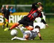 29 July 2018; Scott Brady of St Kevin's in action against Rhys Bartley of Crumlin United, during Ireland's premier underaged soccer tournament, the Volkswagen Junior Masters. The competition sees U13 teams from around Ireland compete for the title and a €2,500 prize for their club, over the days of July 28th and 29th, at AUL Complex in Dublin. Photo by Seb Daly/Sportsfile