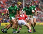 29 July 2018; Daniel Kearney of Cork in action against Darragh O'Donovan, left, Dan Morrissey and Gearóid Hegarty of Limerick during the GAA Hurling All-Ireland Senior Championship semi-final match between Cork and Limerick at Croke Park in Dublin. Photo by Ray McManus/Sportsfile