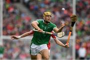 29 July 2018; Dan Morrissey of Limerick  in action against Luke Meade of Cork during the GAA Hurling All-Ireland Senior Championship semi-final match between Cork and Limerick at Croke Park in Dublin. Photo by Ray McManus/Sportsfile