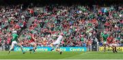 29 July 2018; Cian Lynch of Limerick shoots to score his side's first goal past Cork goalkeeper Anthony Nash during the GAA Hurling All-Ireland Senior Championship semi-final match between Cork and Limerick at Croke Park in Dublin. Photo by Ramsey Cardy/Sportsfile