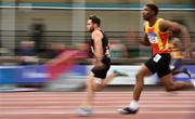 29 July 2018;  Leo Morgan of Clonliffe Harriers A.C., Co. Dublin, left, and Joseph Olalekan Ojewumi of Tallaght A.C., Co. Dublin, competing in the Senior Men 100m event during the Irish Life Health National Senior T&F Championships Day 2 at Morton Stadium in Santry, Dublin. Photo by Sam Barnes/Sportsfile