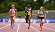29 July 2018; Athletes from left, Lauren Roy of City of Lisburn AC, Co. Down, Gina Akpe-Moses of Blackrock A.C., Co. Louth, and Niamh Whelan of Ferrybank A.C., Co. Waterford, competing in the Senior Women 100m event during the Irish Life Health National Senior T&F Championships Day 2 at Morton Stadium in Santry, Dublin. Photo by Sam Barnes/Sportsfile