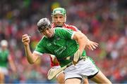 29 July 2018; Diarmaid Byrnes of Limerick in action against Eoin Cadogan of Cork during the GAA Hurling All-Ireland Senior Championship semi-final match between Cork and Limerick at Croke Park in Dublin. Photo by Ray McManus/Sportsfile